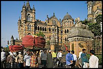 Crowd in front of Chhatrapati Shivaji Terminus. Mumbai, Maharashtra, India (color)