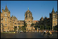 Chhatrapati Shivaji Terminus (Victoria train station), late afternoon. Mumbai, Maharashtra, India (color)