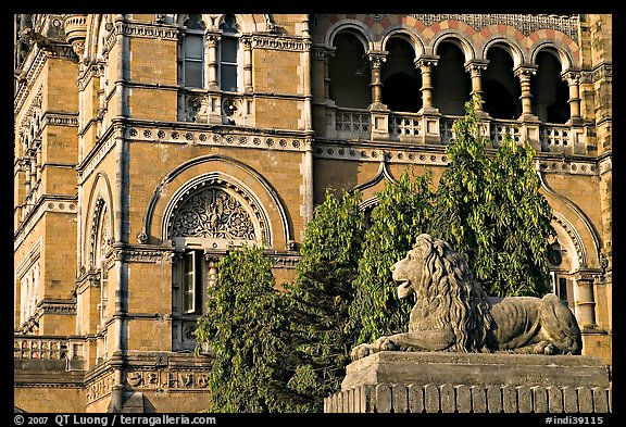 Lion and facade, Chhatrapati Shivaji Terminus. Mumbai, Maharashtra, India (color)