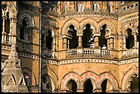 Arched openings on facade, Chhatrapati Shivaji Terminus. Mumbai, Maharashtra, India (color)