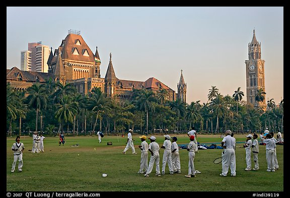 Picture/Photo: Boys in cricket attire on Oval Maidan, High ...