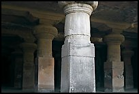 Pilars in main cave, Elephanta Island. Mumbai, Maharashtra, India (color)