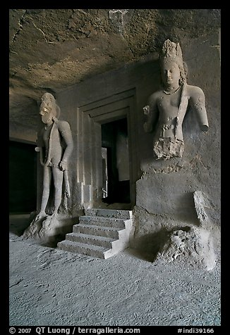 Siva shrine, main  Elephanta cave. Mumbai, Maharashtra, India (color)