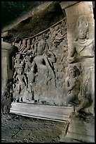 Shiva Shakti rock-carved sculpture, main Elephanta cave. Mumbai, Maharashtra, India (color)
