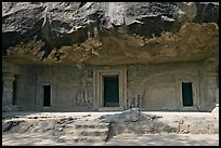 Cave with sculptures and entrances, Elephanta Island. Mumbai, Maharashtra, India (color)