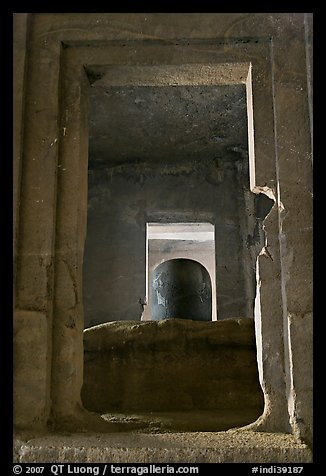 Linga in Sanctorum of Siva shrine, Elephanta caves. Mumbai, Maharashtra, India (color)