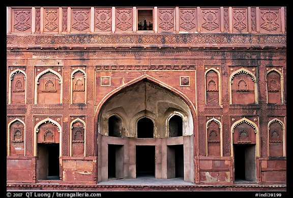 Alcove and wall, Jehangiri Palace, Agra Fort. Agra, Uttar Pradesh, India (color)