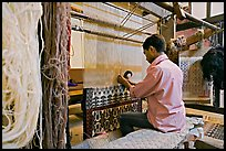 Man weaving a carpet. Agra, Uttar Pradesh, India ( color)