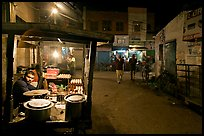 Food vendor and street by night, Taj Ganj. Agra, Uttar Pradesh, India ( color)