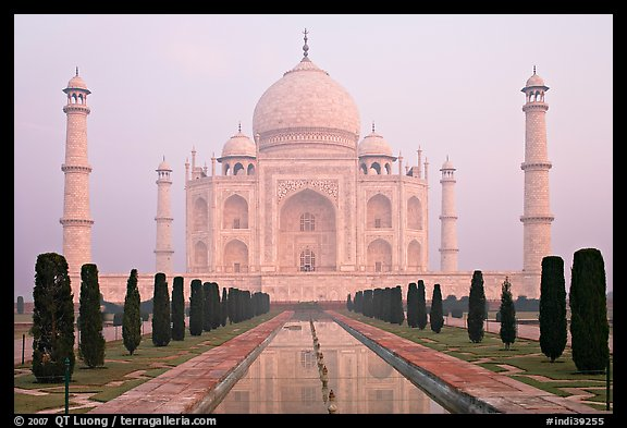 Taj Mahal reflected in watercourse,  sunrise. Agra, Uttar Pradesh, India (color)