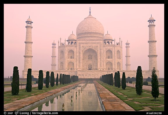 Taj Mahal, charbagh gardens, and watercourse, sunrise. Agra, Uttar Pradesh, India (color)