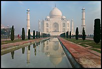 Mughal gardens with watercourse and Taj Mahal. Agra, Uttar Pradesh, India (color)