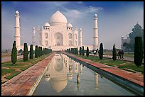 Taj Mahal and reflection, morning. Agra, Uttar Pradesh, India (color)