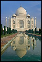 Taj Mahal and reflecting pool, morning. Agra, Uttar Pradesh, India (color)