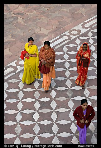 Women walking on decorated terrace, Taj Mahal. Agra, Uttar Pradesh, India (color)