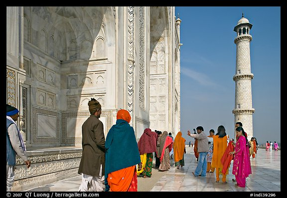 Colorful tourists on the platform, Taj Mahal,. Agra, Uttar Pradesh, India (color)