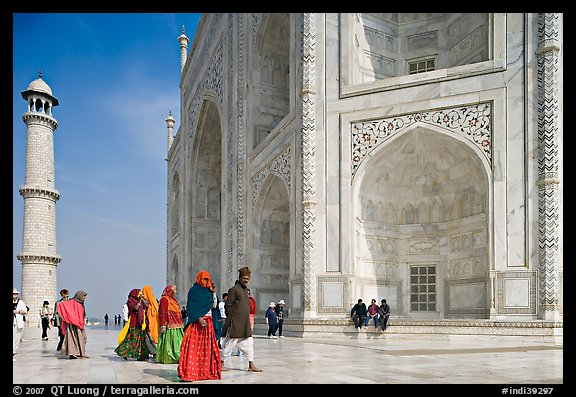 Base of Taj Mahal, minaret, and tourists. Agra, Uttar Pradesh, India (color)