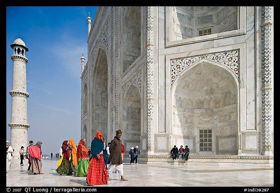 Picture Photo Base Of Taj Mahal Minaret And Tourists