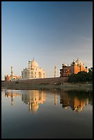 Taj Mahal complex reflected in Yamuna River. Agra, Uttar Pradesh, India