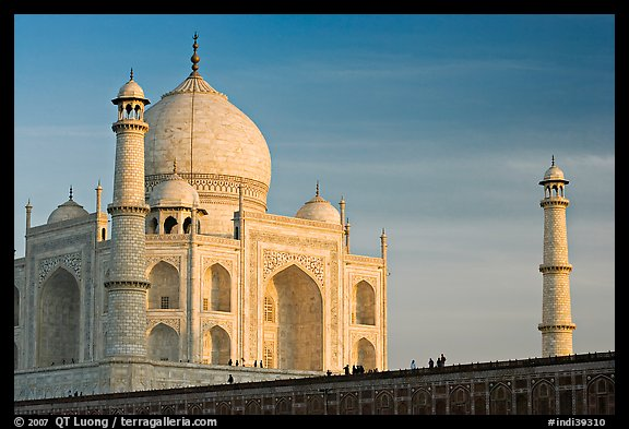 Taj Mahal and minarets, late afternoon. Agra, Uttar Pradesh, India (color)