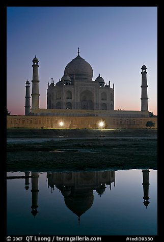 Taj Mahal over Yamuna River at dusk. Agra, Uttar Pradesh, India (color)