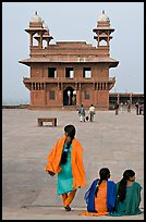 Women, Pachisi courtyard, and Diwan-i-Khas. Fatehpur Sikri, Uttar Pradesh, India (color)