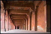 Corridor beneath the Panch Mahal building. Fatehpur Sikri, Uttar Pradesh, India (color)