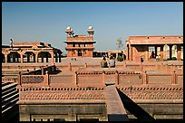 Ornamental pool and main courtyard. Fatehpur Sikri, Uttar Pradesh, India (color)