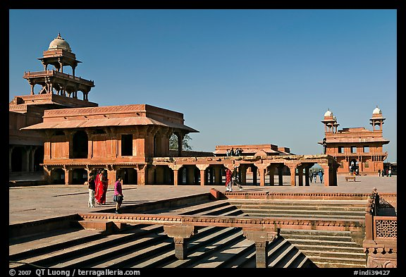 Steps of ornamental pool, Panch Mahal, Diwan-i-Khas, and main courtyard. Fatehpur Sikri, Uttar Pradesh, India (color)