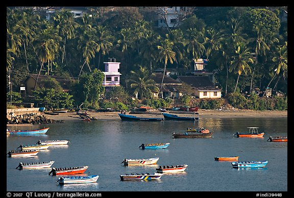 Boats, and palm-tree covered hillside, Dona Paula. Goa, India (color)