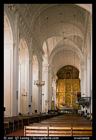 Nave and altar of Se Cathedral , Old Goa. Goa, India (color)