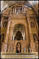 Gilded and carved woodwork, Church of St Francis of Assisi altar, Old Goa. Goa, India (color)