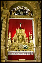 Richly decorated altar, Basilica of Bom Jesus, Old Goa. Goa, India
