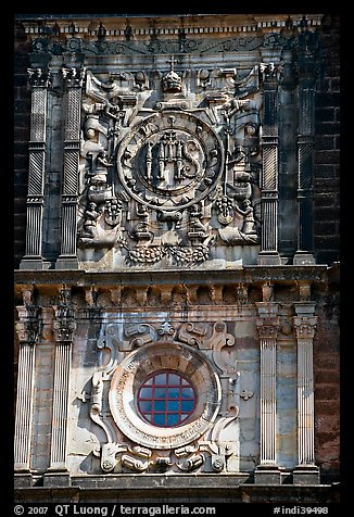 Facade decor, Basilica of Bom Jesus, Old Goa. Goa, India