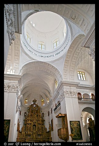 Inside dome of Church of St Cajetan, Old Goa. Goa, India (color)