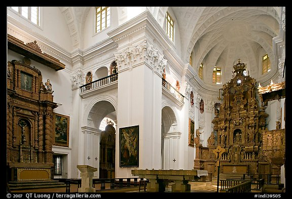 Church of St Cajetan interior, Old Goa. Goa, India (color)