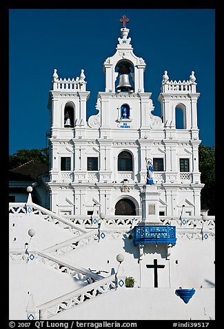 Church of our Lady of the Immaculate Conception facade, Panaji. Goa, India (color)