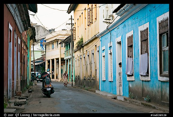 Picture Photo Street With Painted Houses Panaji Goa India