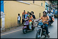 Street with motorbikes, Panjim. Goa, India (color)