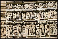 Carvings, Parsvanatha temple, Eastern Group. Khajuraho, Madhya Pradesh, India (color)