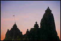 Temple silhouette, Western Group, sunset. Khajuraho, Madhya Pradesh, India (color)