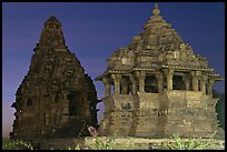 Temples at dusk, Western Group. Khajuraho, Madhya Pradesh, India
