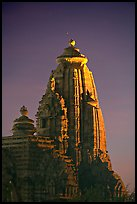 Illuminated temple at night, Western Group. Khajuraho, Madhya Pradesh, India
