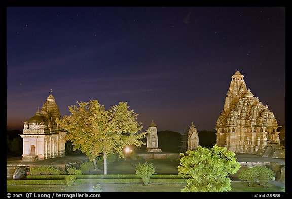 Temples of the Western Group at night. Khajuraho, Madhya Pradesh, India (color)