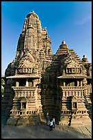 Lakshmana temple seen from Matangesvara temple, with people looking. Khajuraho, Madhya Pradesh, India (color)