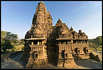 Lakshmana temple seen from Matangesvara temple. Khajuraho, Madhya Pradesh, India (color)