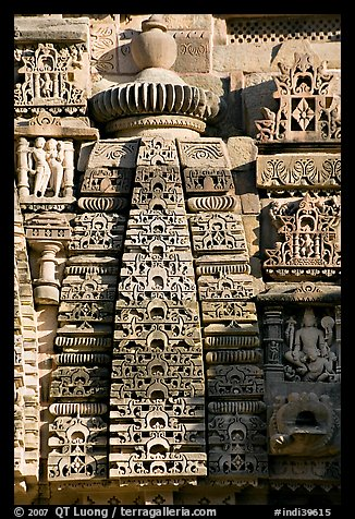 Temple decor detail, Lakshmana temple. Khajuraho, Madhya Pradesh, India (color)