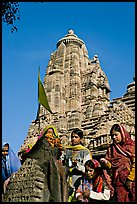 Morning Puja in front of Lakshmana temple. Khajuraho, Madhya Pradesh, India (color)
