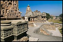 Mahadeva and Devi Jagadamba temples seen from Kadariya-Mahadev. Khajuraho, Madhya Pradesh, India