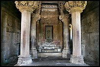 Columns and inner sanctum (garbhagriha) of Lakshmana temple. Khajuraho, Madhya Pradesh, India (color)